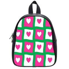 Pink Hearts Valentine Love Checks School Bags (small)  by Nexatart