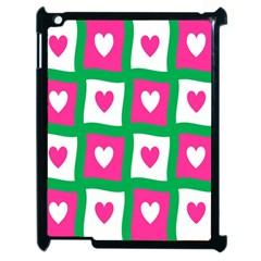 Pink Hearts Valentine Love Checks Apple Ipad 2 Case (black)
