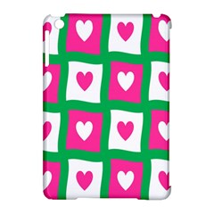 Pink Hearts Valentine Love Checks Apple Ipad Mini Hardshell Case (compatible With Smart Cover)