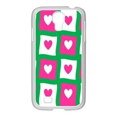 Pink Hearts Valentine Love Checks Samsung Galaxy S4 I9500/ I9505 Case (white)