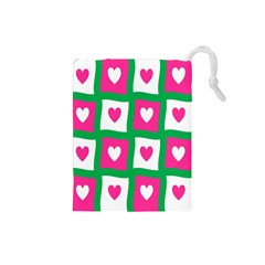 Pink Hearts Valentine Love Checks Drawstring Pouches (small)