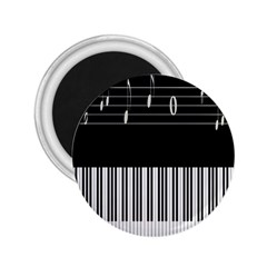 Piano Keyboard With Notes Vector 2 25  Magnets
