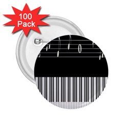 Piano Keyboard With Notes Vector 2 25  Buttons (100 Pack)