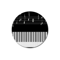 Piano Keyboard With Notes Vector Magnet 3  (round)