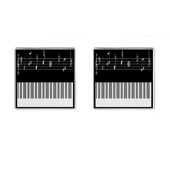 Piano Keyboard With Notes Vector Cufflinks (square) by Nexatart