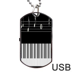 Piano Keyboard With Notes Vector Dog Tag Usb Flash (one Side) by Nexatart