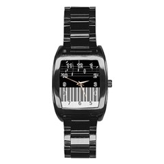 Piano Keyboard With Notes Vector Stainless Steel Barrel Watch by Nexatart