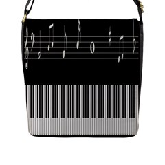 Piano Keyboard With Notes Vector Flap Messenger Bag (l)