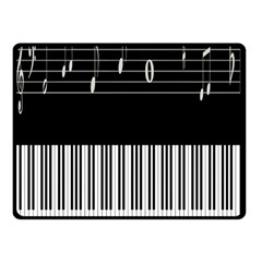 Piano Keyboard With Notes Vector Double Sided Fleece Blanket (small)  by Nexatart
