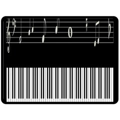 Piano Keyboard With Notes Vector Double Sided Fleece Blanket (large)  by Nexatart