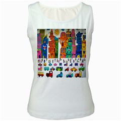 Painted Autos City Skyscrapers Women s White Tank Top