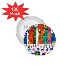 Painted Autos City Skyscrapers 1 75  Buttons (100 Pack)