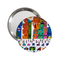 Painted Autos City Skyscrapers 2 25  Handbag Mirrors