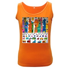 Painted Autos City Skyscrapers Women s Dark Tank Top