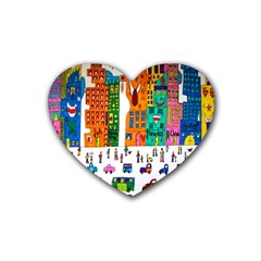 Painted Autos City Skyscrapers Rubber Coaster (heart)