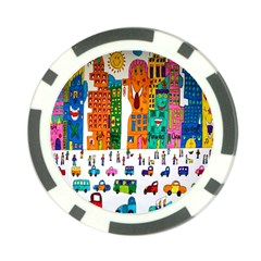 Painted Autos City Skyscrapers Poker Chip Card Guard (10 Pack)