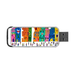 Painted Autos City Skyscrapers Portable Usb Flash (two Sides) by Nexatart