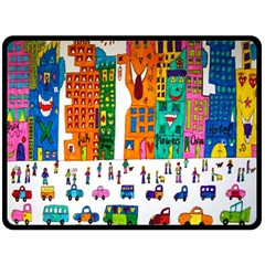 Painted Autos City Skyscrapers Double Sided Fleece Blanket (large)