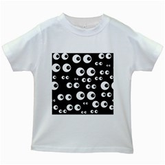 Seamless Eyes Tile Pattern Kids White T Shirts by Nexatart