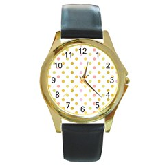 Polka Dots Retro Round Gold Metal Watch by Nexatart