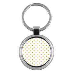 Polka Dots Retro Key Chains (round)  by Nexatart