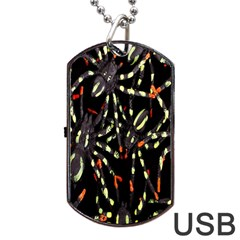 Spiders Background Dog Tag Usb Flash (two Sides) by Nexatart