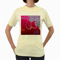 Love Flowers Women s Yellow T Shirt