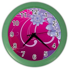 Love Flowers Color Wall Clocks by Nexatart