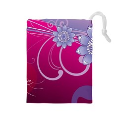Love Flowers Drawstring Pouches (large)