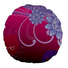 Love Flowers Large 18  Premium Flano Round Cushions