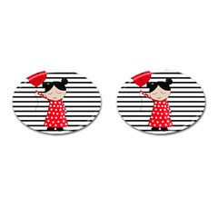 Valentines Day Girl 2 Cufflinks (oval) by Valentinaart