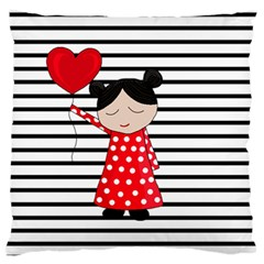 Valentines Day Girl 2 Large Flano Cushion Case (two Sides) by Valentinaart