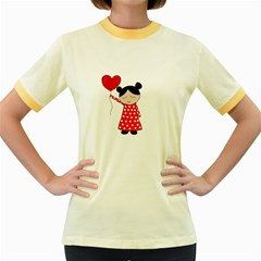 Girl In Love Women s Fitted Ringer T Shirts by Valentinaart