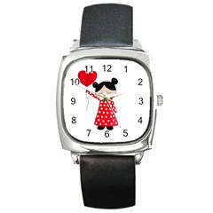 Girl In Love Square Metal Watch by Valentinaart