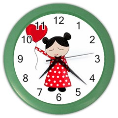 Girl In Love Color Wall Clocks by Valentinaart