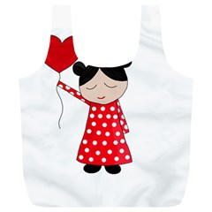 Girl In Love Full Print Recycle Bags (l)  by Valentinaart