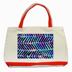 Blue Tribal Chevrons  Classic Tote Bag (Red) by KirstenStar