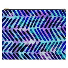 Blue Tribal Chevrons  Cosmetic Bag (xxxl)  by KirstenStar