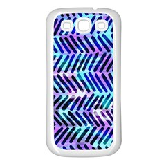 Blue Tribal Chevrons  Samsung Galaxy S3 Back Case (white) by KirstenStar