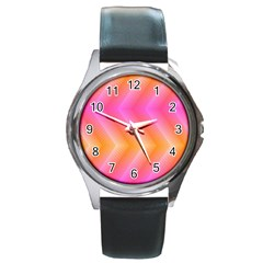 Pattern Background Pink Orange Round Metal Watch by Nexatart