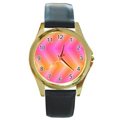 Pattern Background Pink Orange Round Gold Metal Watch