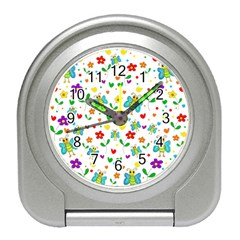 Cute Butterflies And Flowers Pattern Travel Alarm Clocks by Valentinaart