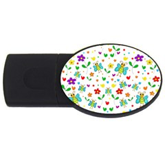 Cute Butterflies And Flowers Pattern Usb Flash Drive Oval (4 Gb)
