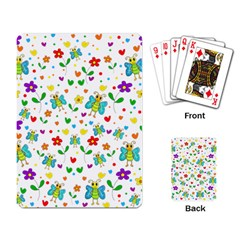 Cute Butterflies And Flowers Pattern Playing Card