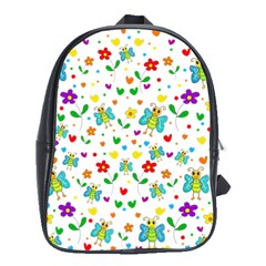 Cute Butterflies And Flowers Pattern School Bags(large)  by Valentinaart