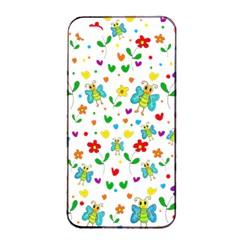 Cute Butterflies And Flowers Pattern Apple Iphone 4/4s Seamless Case (black) by Valentinaart