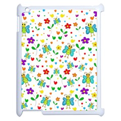 Cute Butterflies And Flowers Pattern Apple Ipad 2 Case (white) by Valentinaart