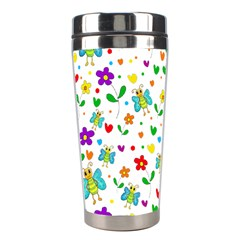 Cute Butterflies And Flowers Pattern Stainless Steel Travel Tumblers by Valentinaart