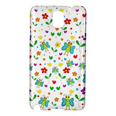 Cute Butterflies And Flowers Pattern Samsung Galaxy Note 3 N9005 Hardshell Case by Valentinaart