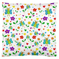Cute Butterflies And Flowers Pattern Large Flano Cushion Case (two Sides) by Valentinaart